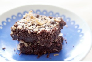 semi-homemade vegan & gluten-free coconut brownies