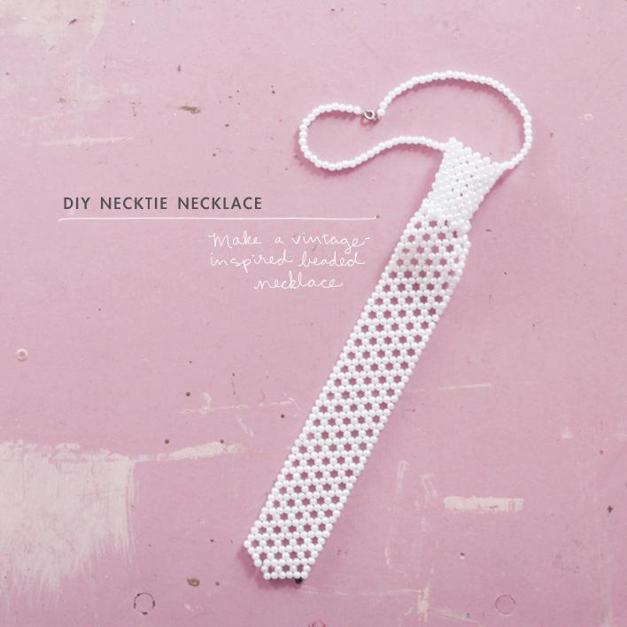 beaded necktie necklace vintage inspired