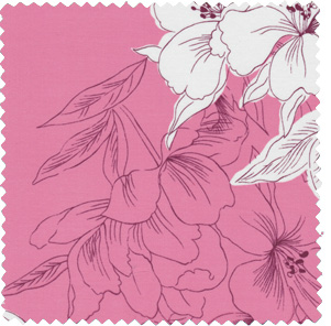 1950s-inspired pink and white floral apparel fabric