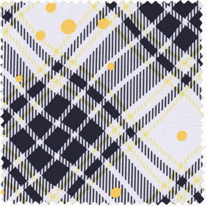 yellow 1960s inspired plaid and dotted cotton apparel fabric