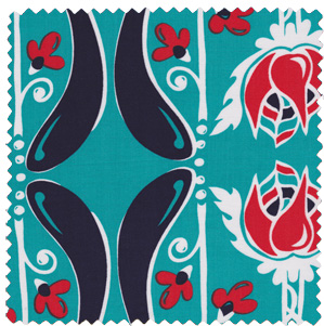 aqua blue red vintage inspired apparel fabric