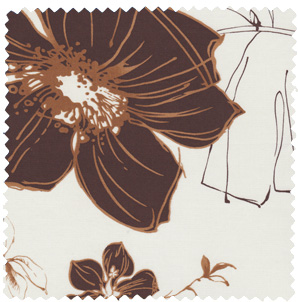 brown 1950s inspired vintage cotton floral apparel fabric