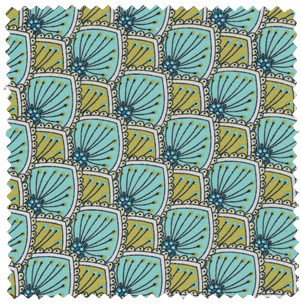 1930s inspired apparel fabric turquoise green