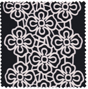 1960s vintage inspired mod black and white floral apparel fabric