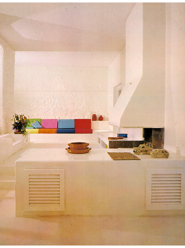 1970s white living room colorful vintage home