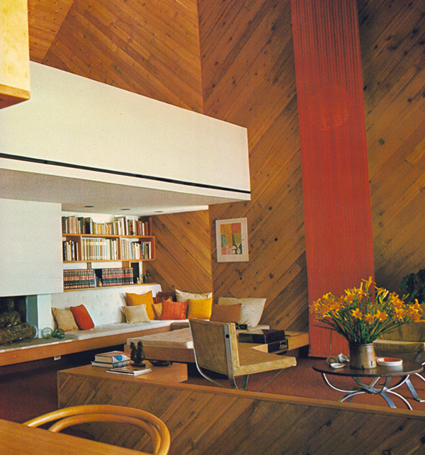 1970s living room wooden paneled modern bohemian
