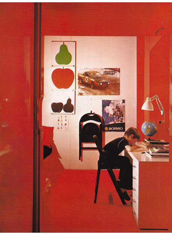 vintage 1970s children's room red lacquered walls