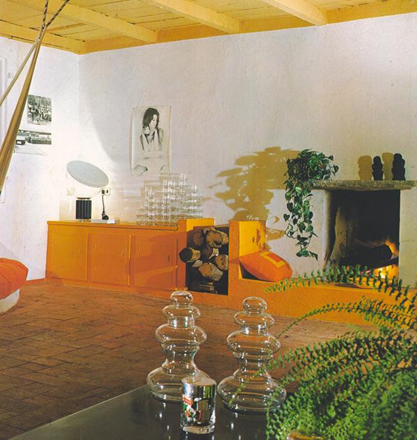orange built in cabinets vintage living room