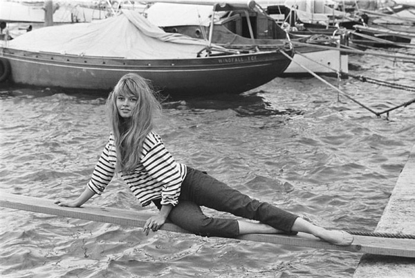 Brigitte Bardot in a striped shirt