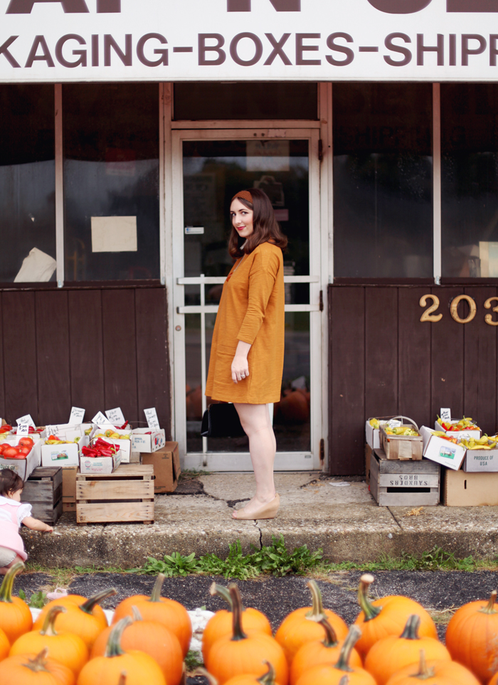 orange vintage-inspired outfit from Mandi of Making Nice in the Midwest