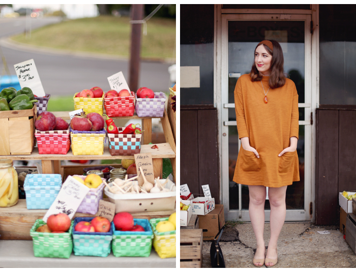 orange vintage-inspired dress on Mandi from Making Nice in the Midwest