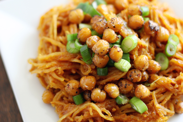 Spaghetti Squash Curry with Roasted Chickpeas- paleo, vegan, & gluten ...