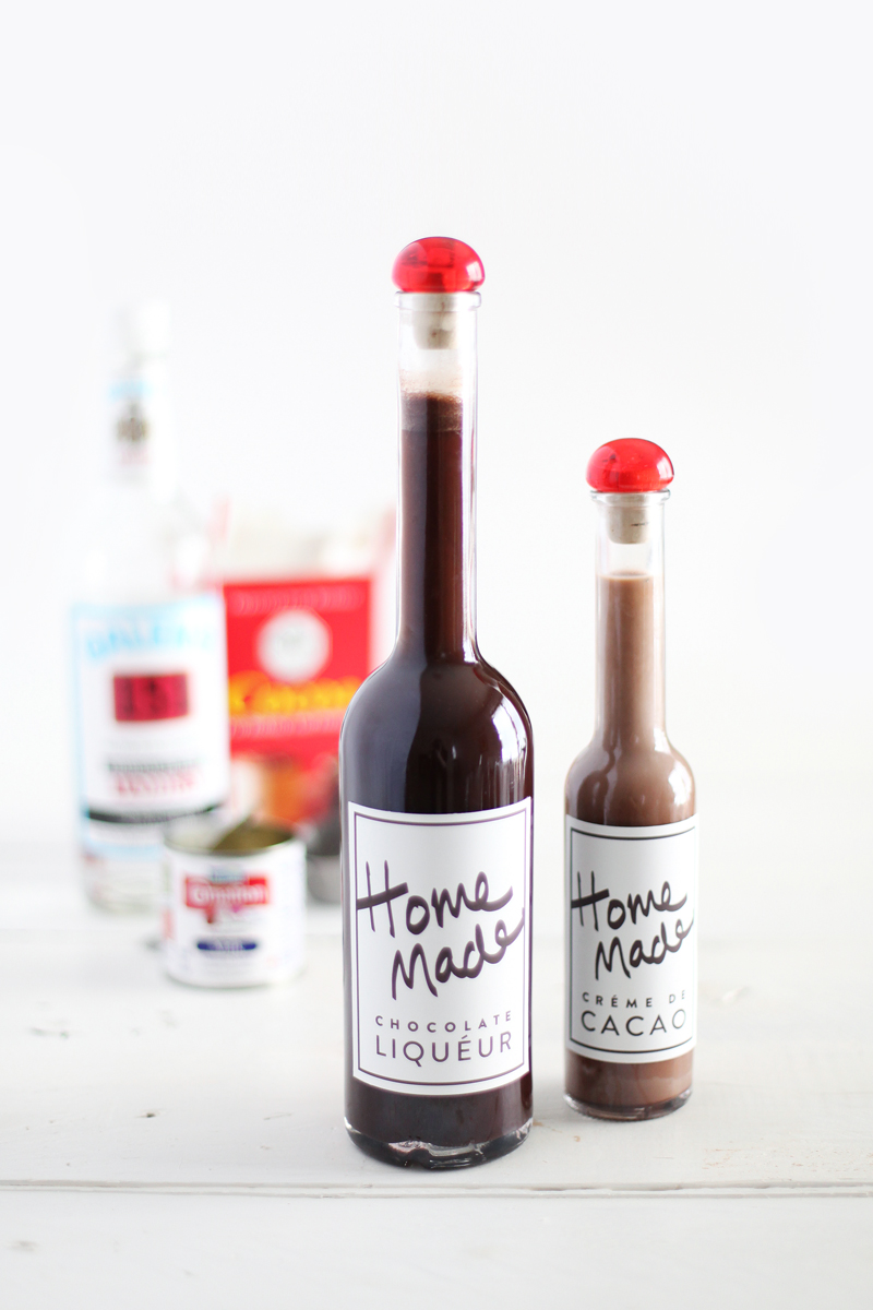 DIY chocolate liqueur with printable labels