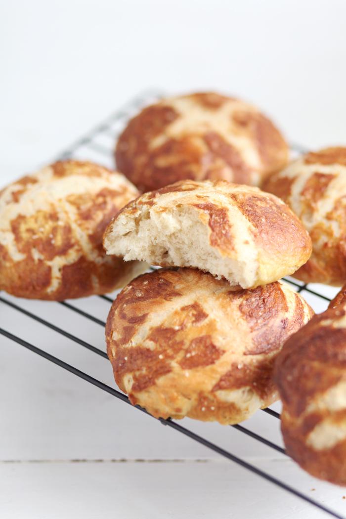 Soft Pretzel Sandwich Buns