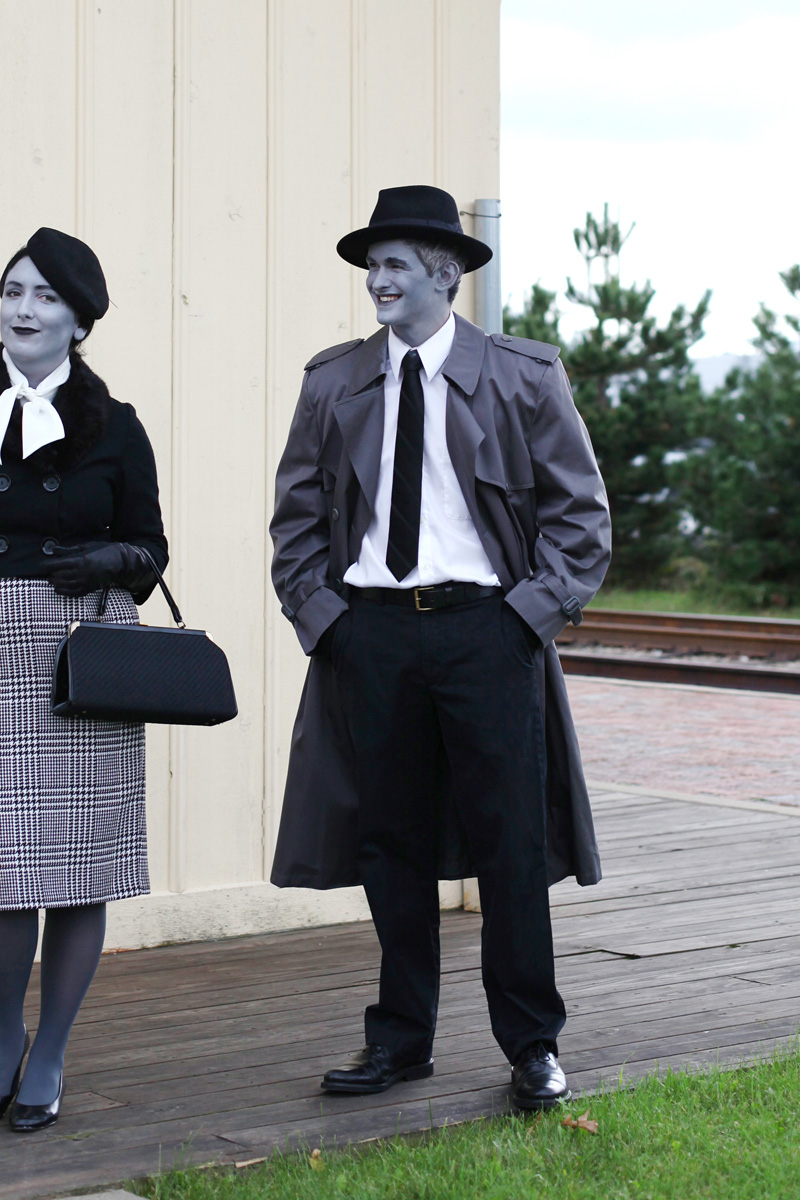 grayscale film noir costumes