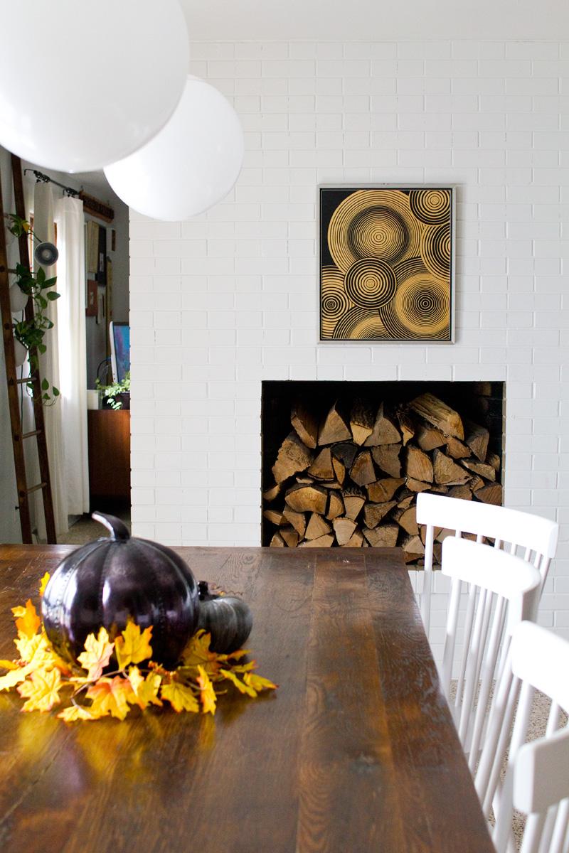 fall decor in a modern home