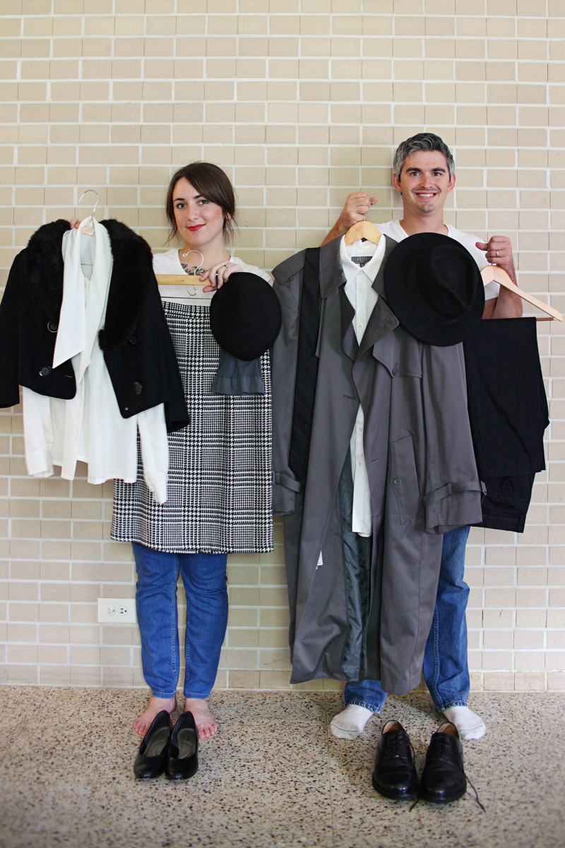 grayscale film noir costumes