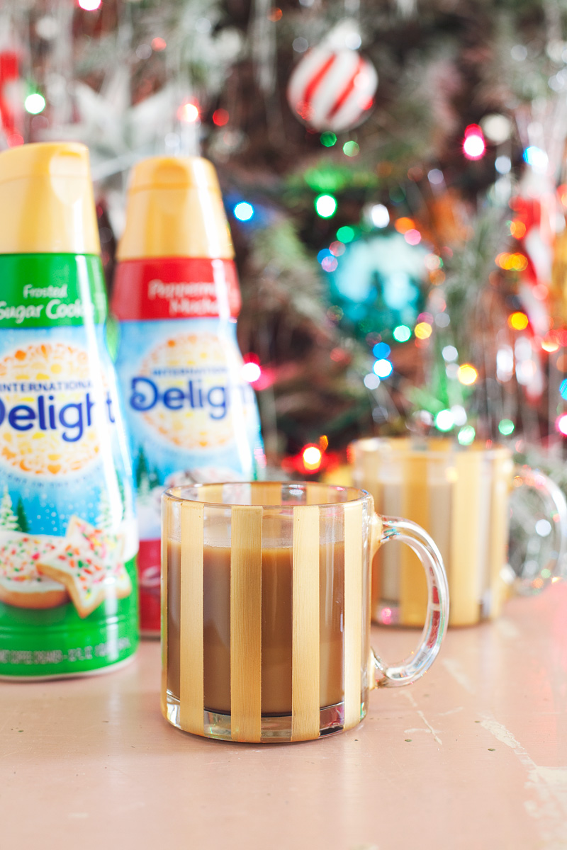 DIY Painted Striped Mug with International Delight holiday creamers