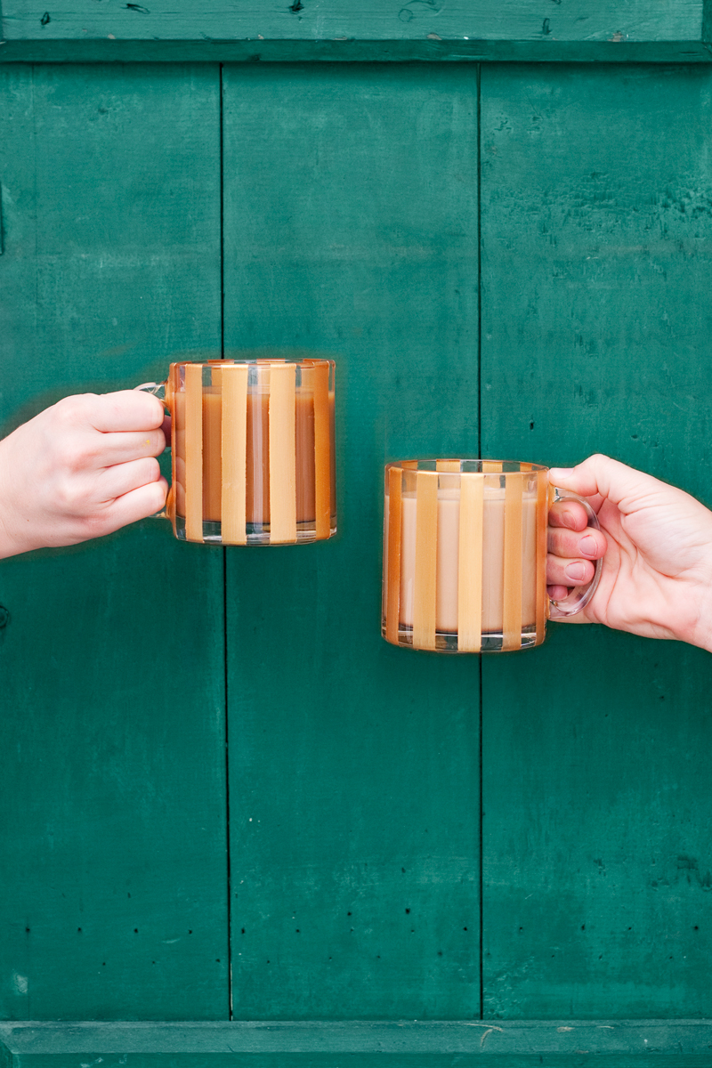 DIY gold striped glass mug