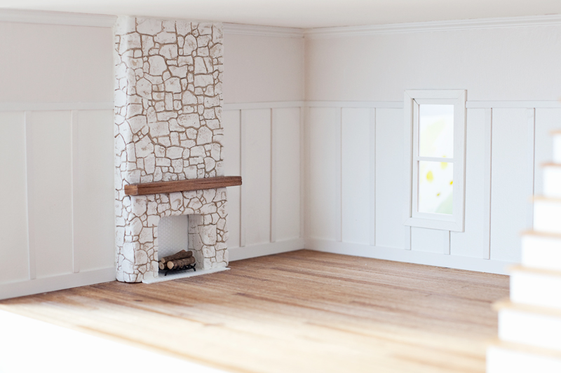 DIY dollhouse stone fireplace