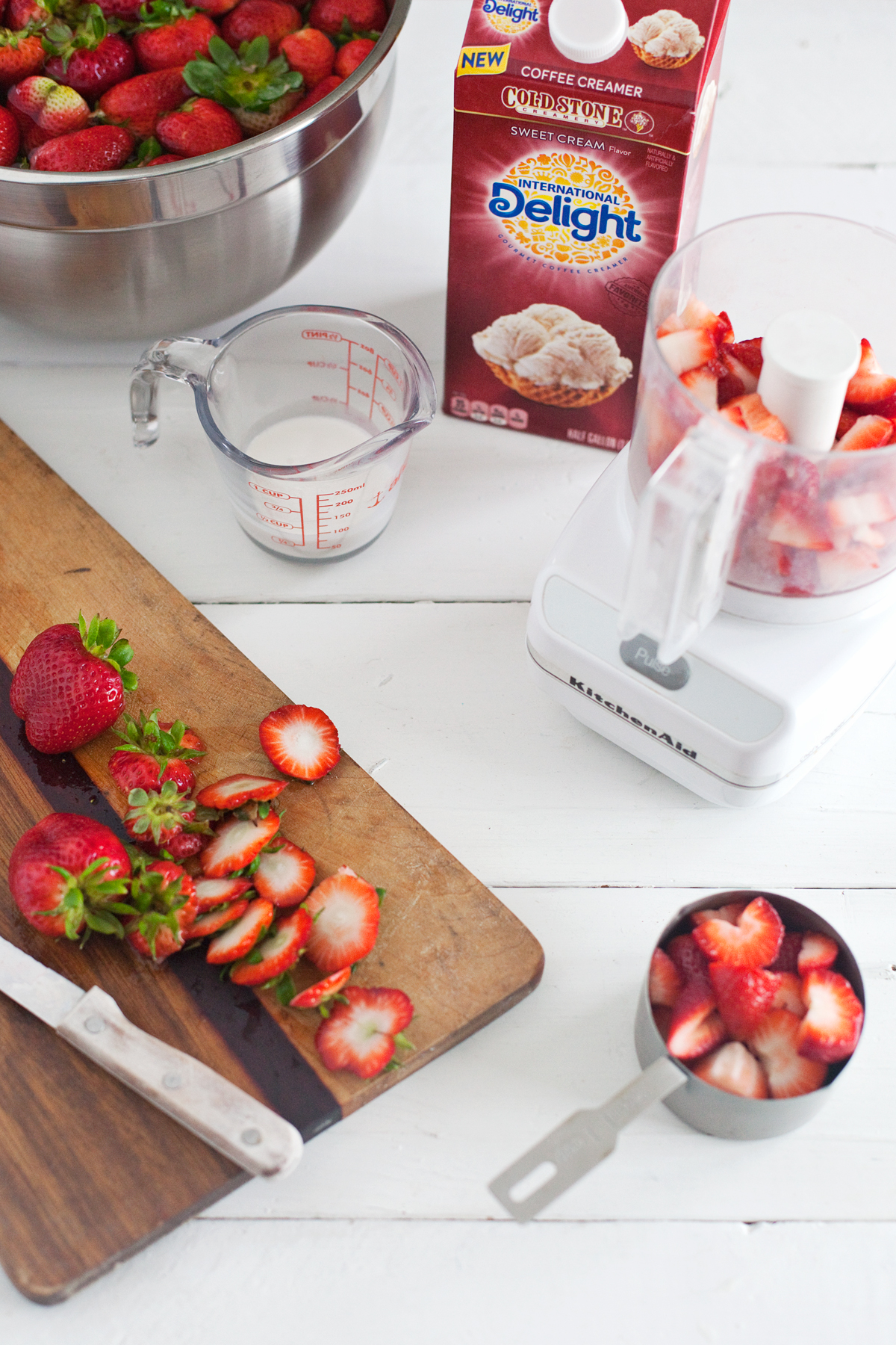strawberries and cream oatmeal with International delight sweet cream