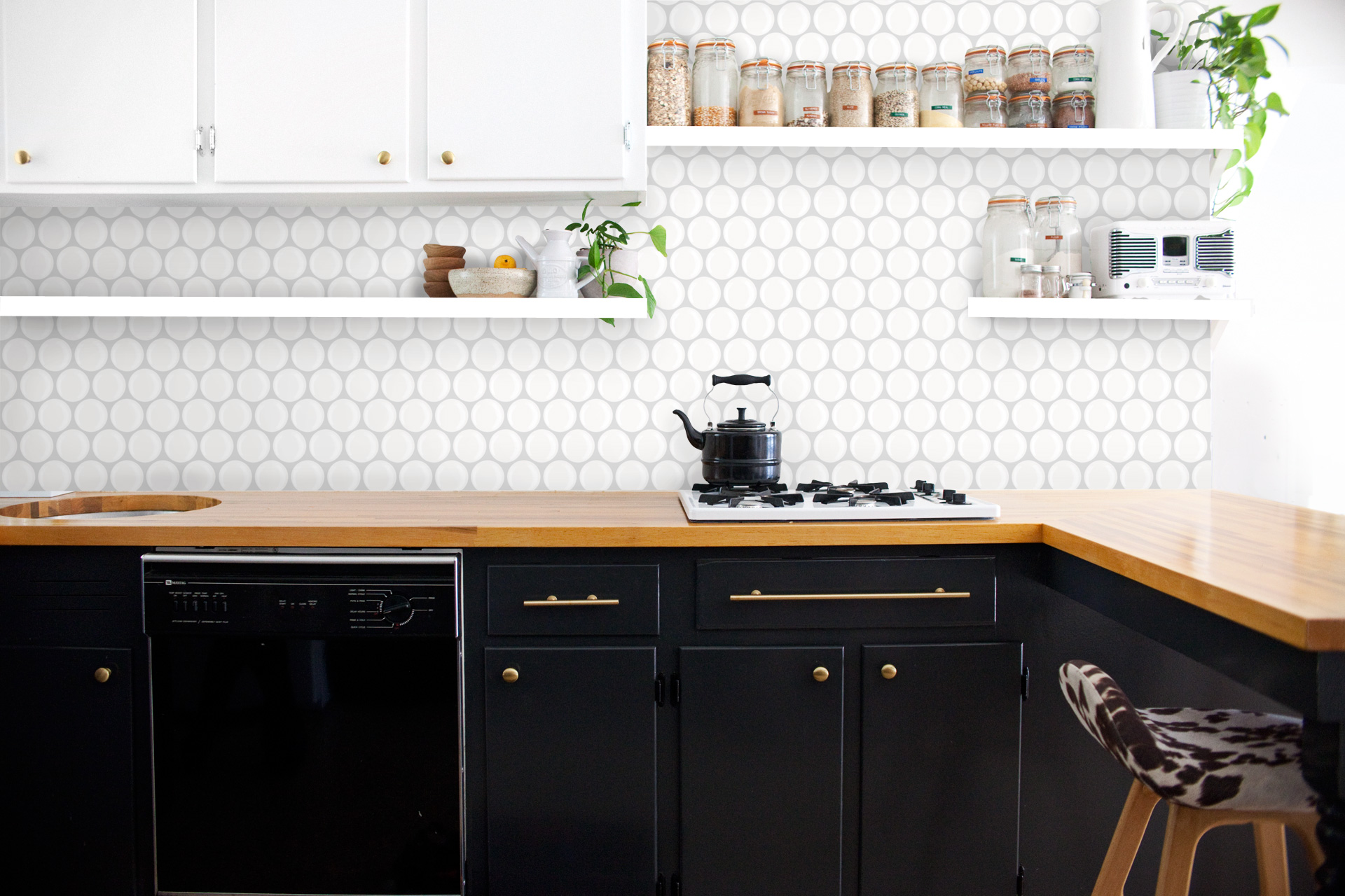 kitchen white circle tiles