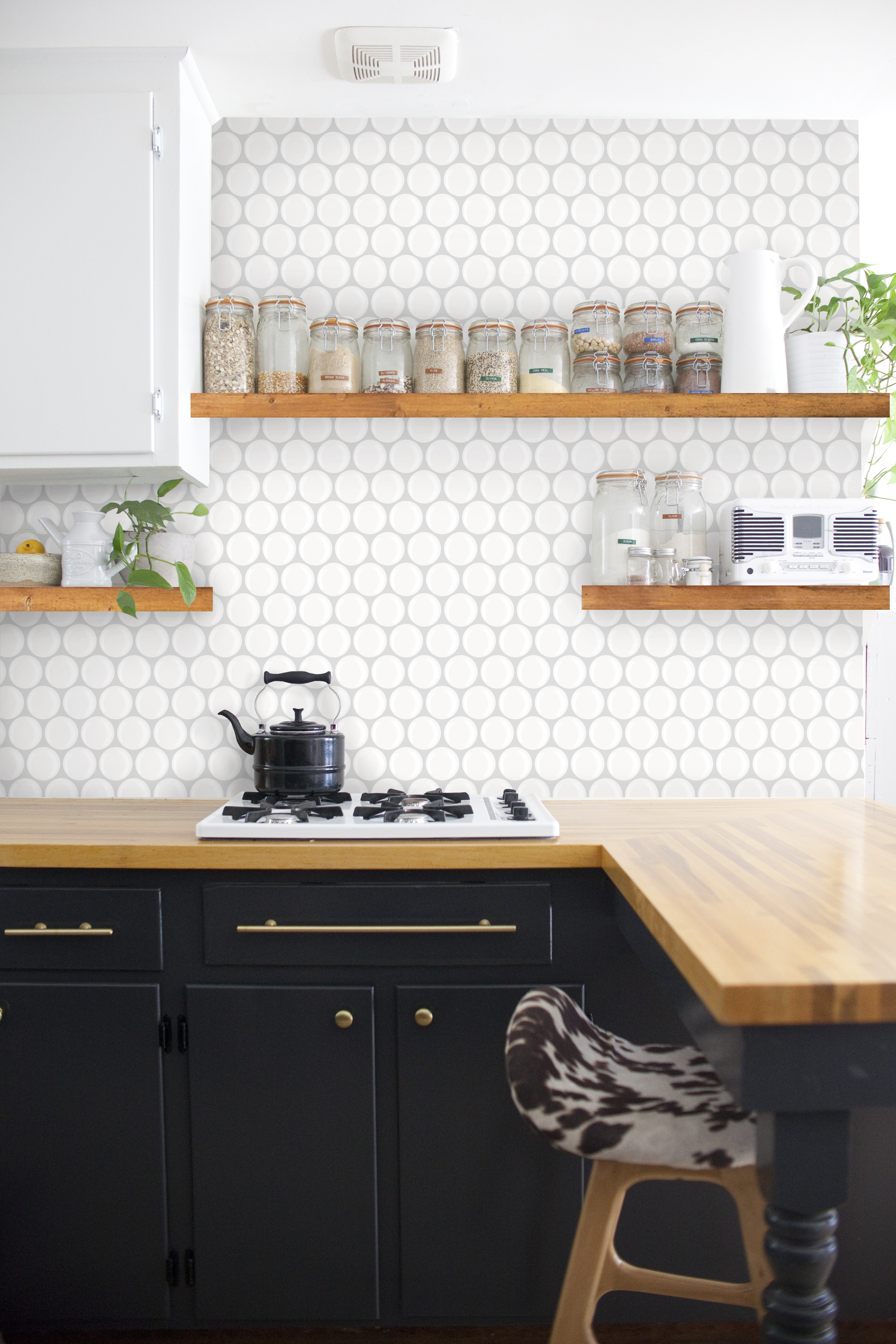 Wood floating shelves kitchen