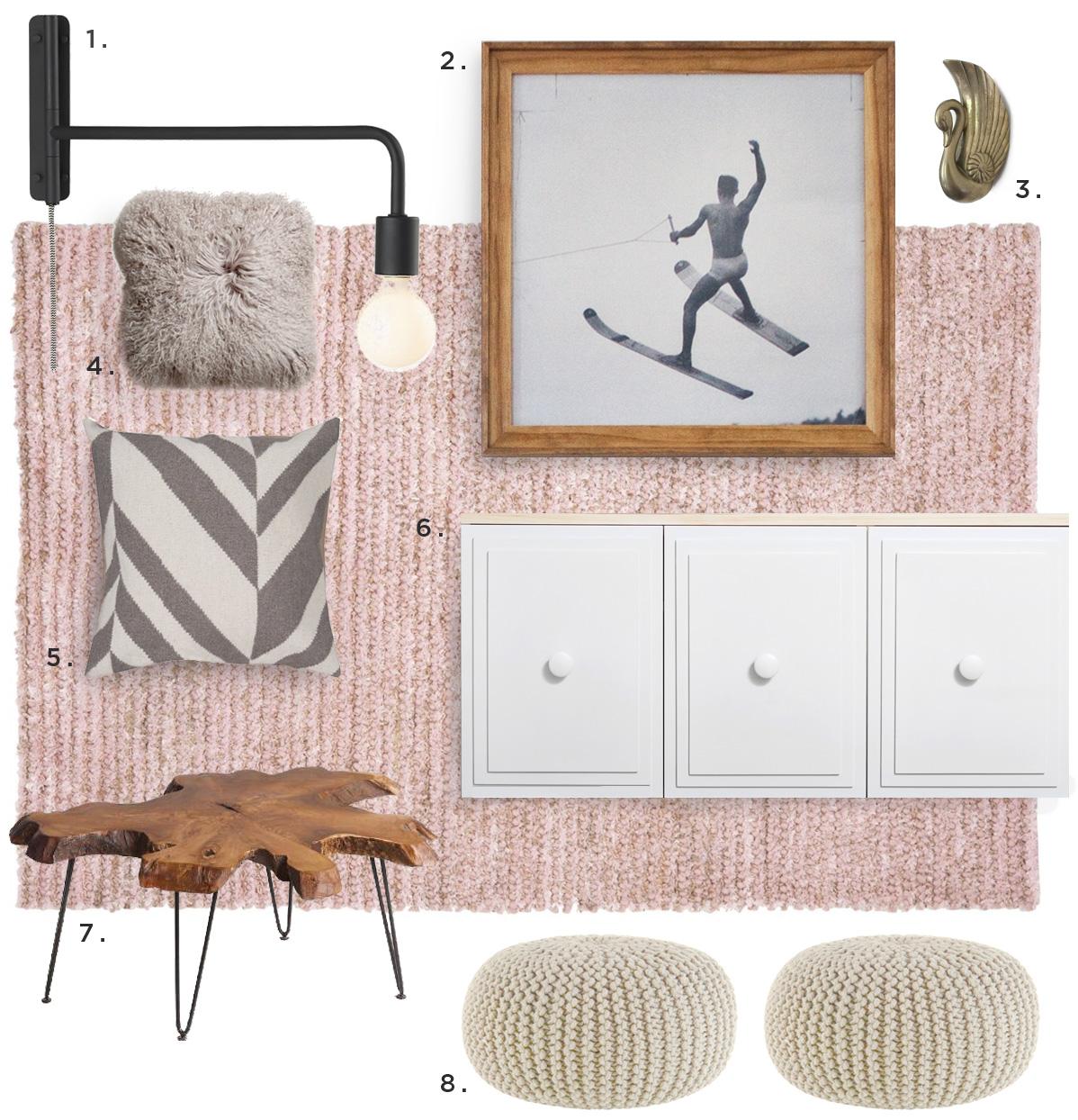 mid century boho living room details