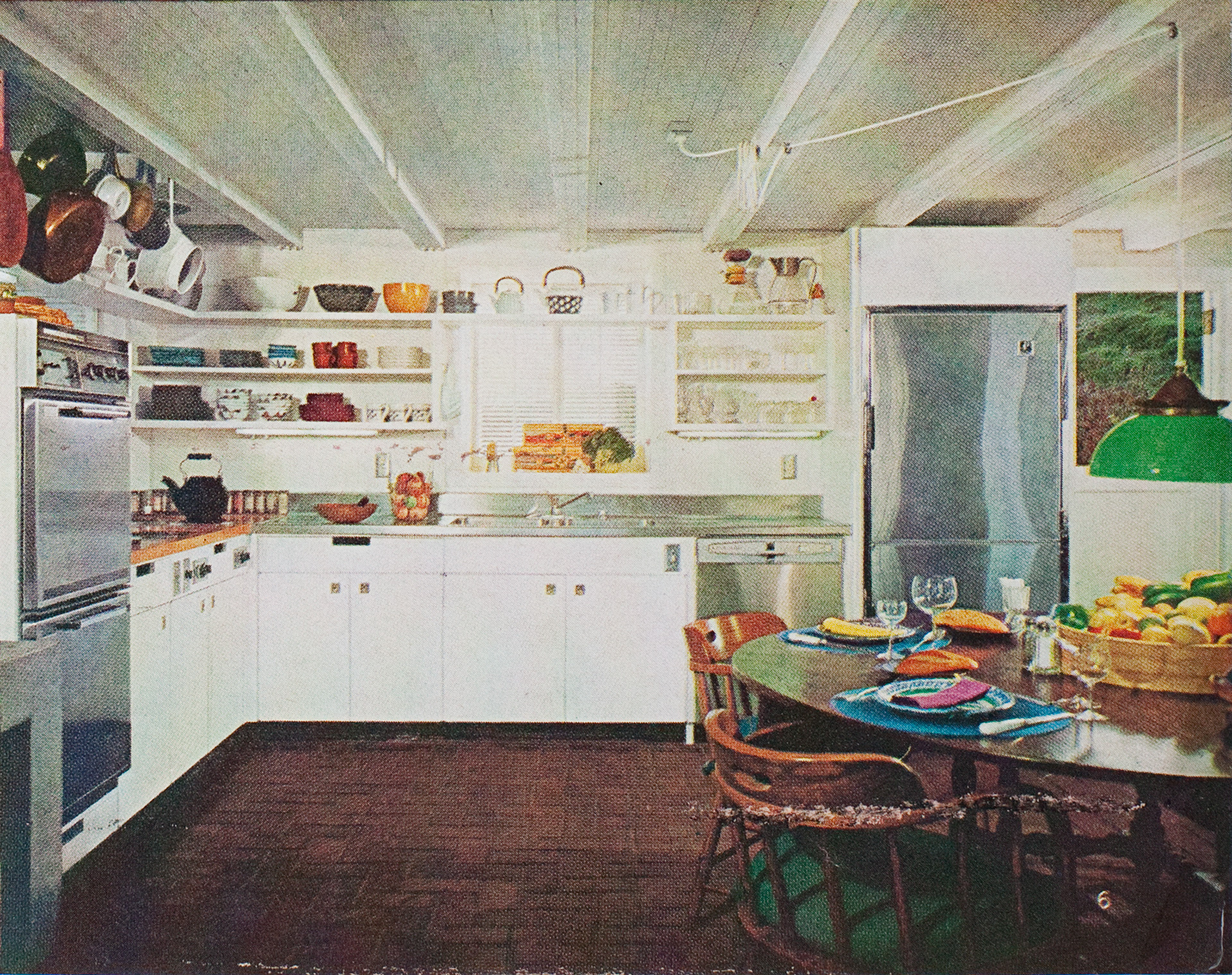 1970s open shelving kitchen