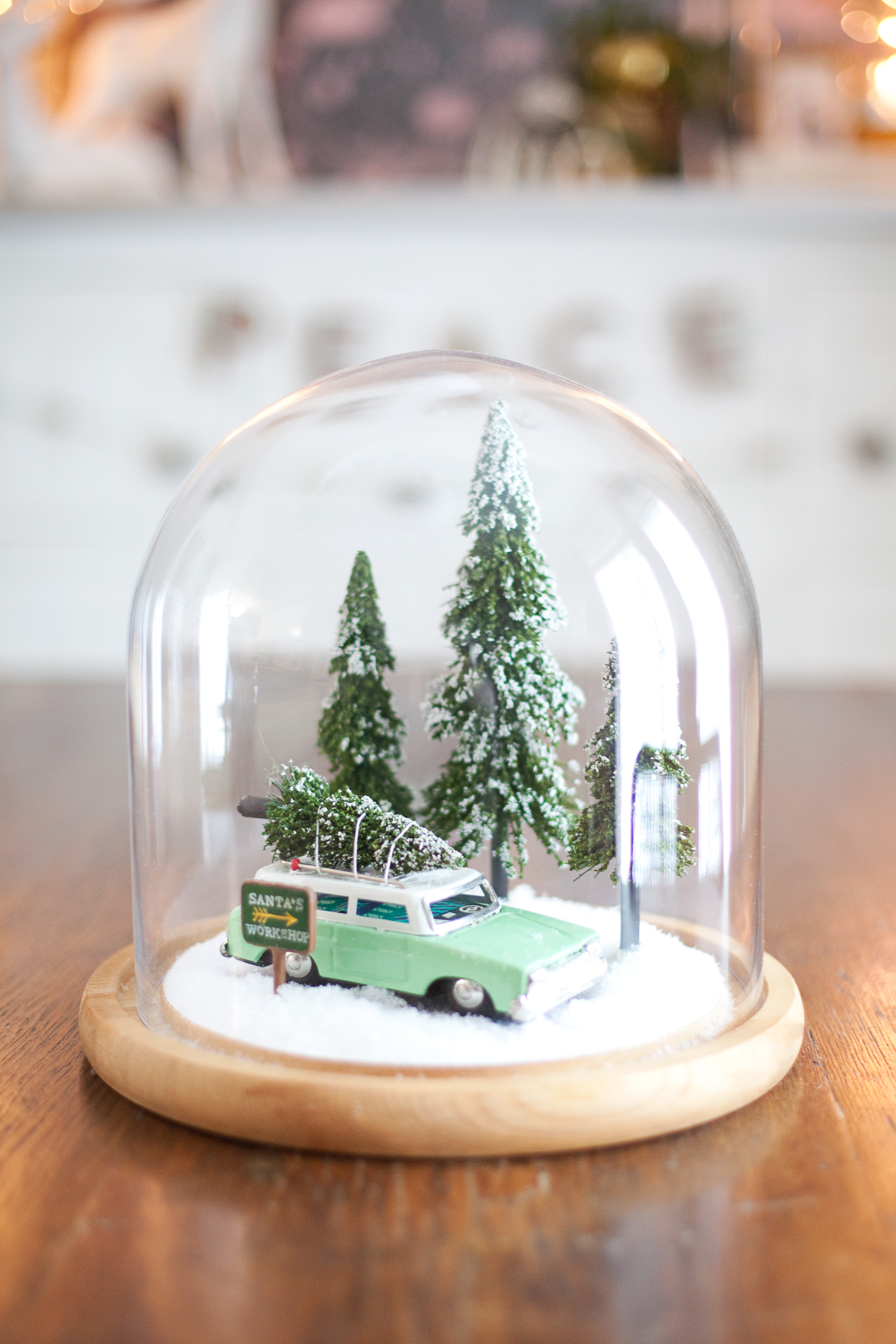 winter cloche jar scene