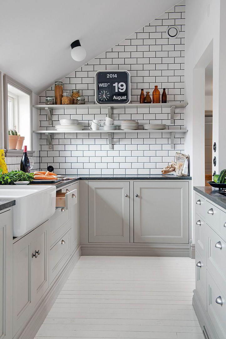 gray lower cabinets, white and gray subway tile