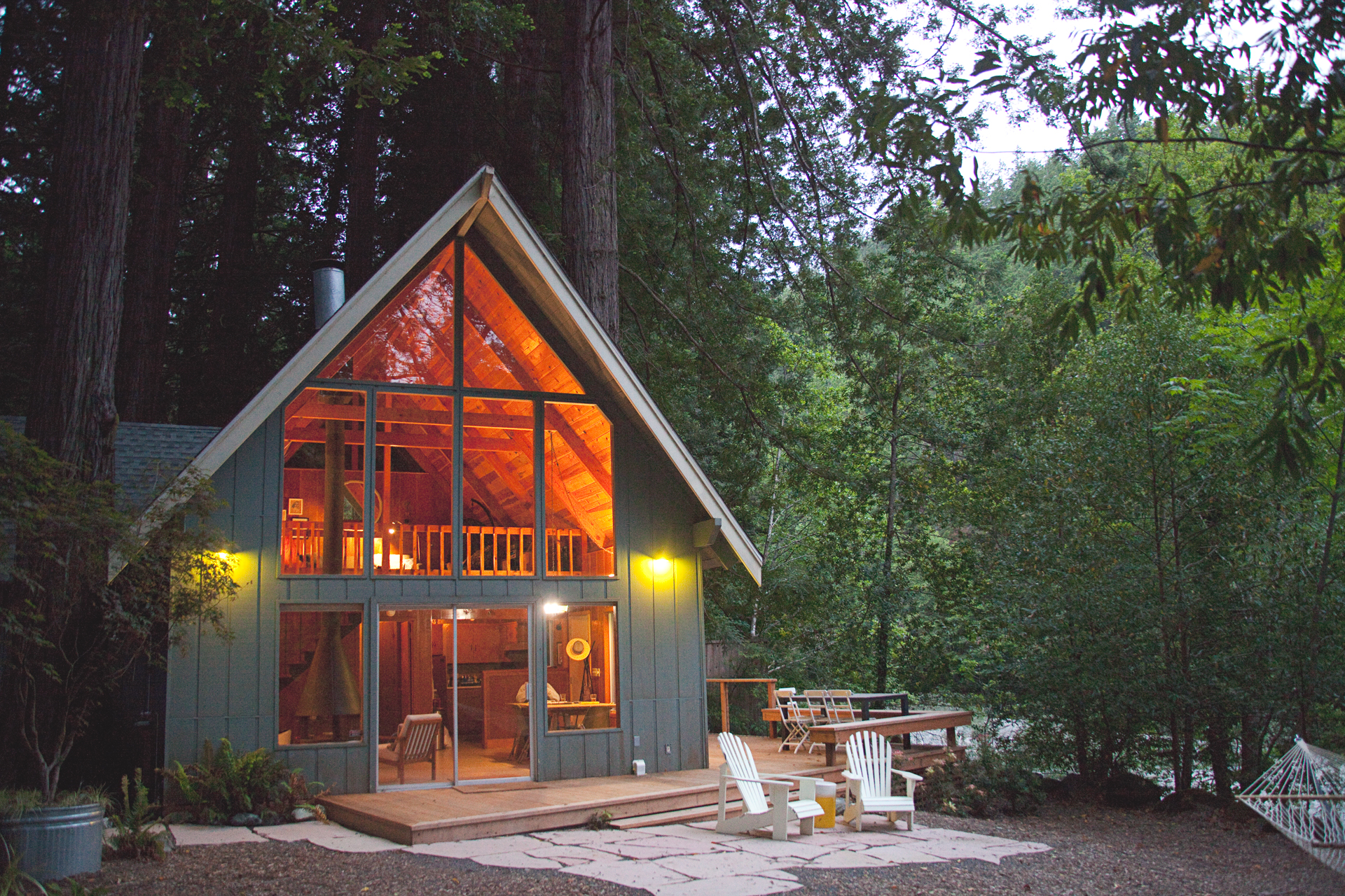 A-Frame cabin in the California redwoods