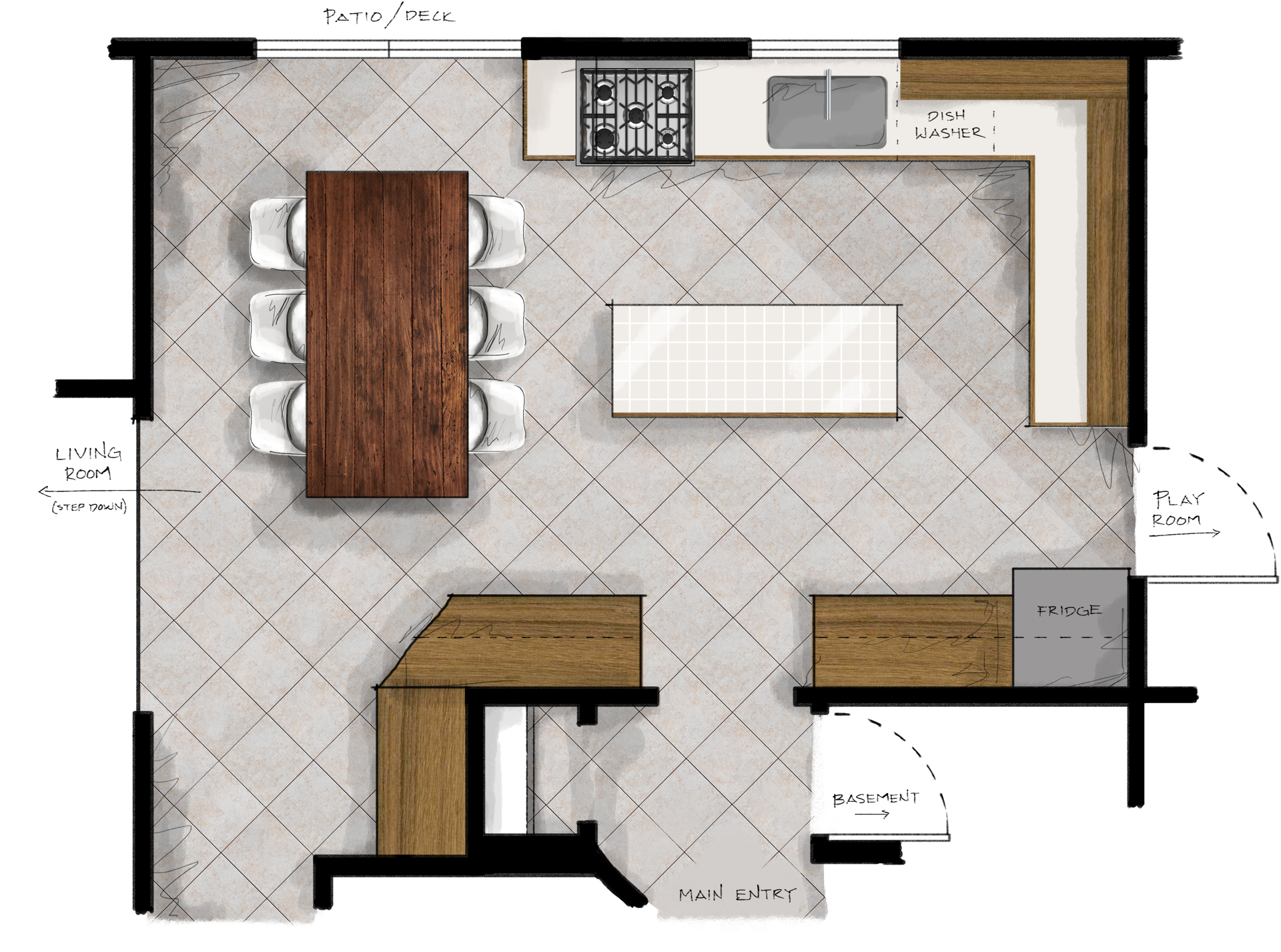 New kitchen plans making nice in the midwest for Planning a kitchen layout