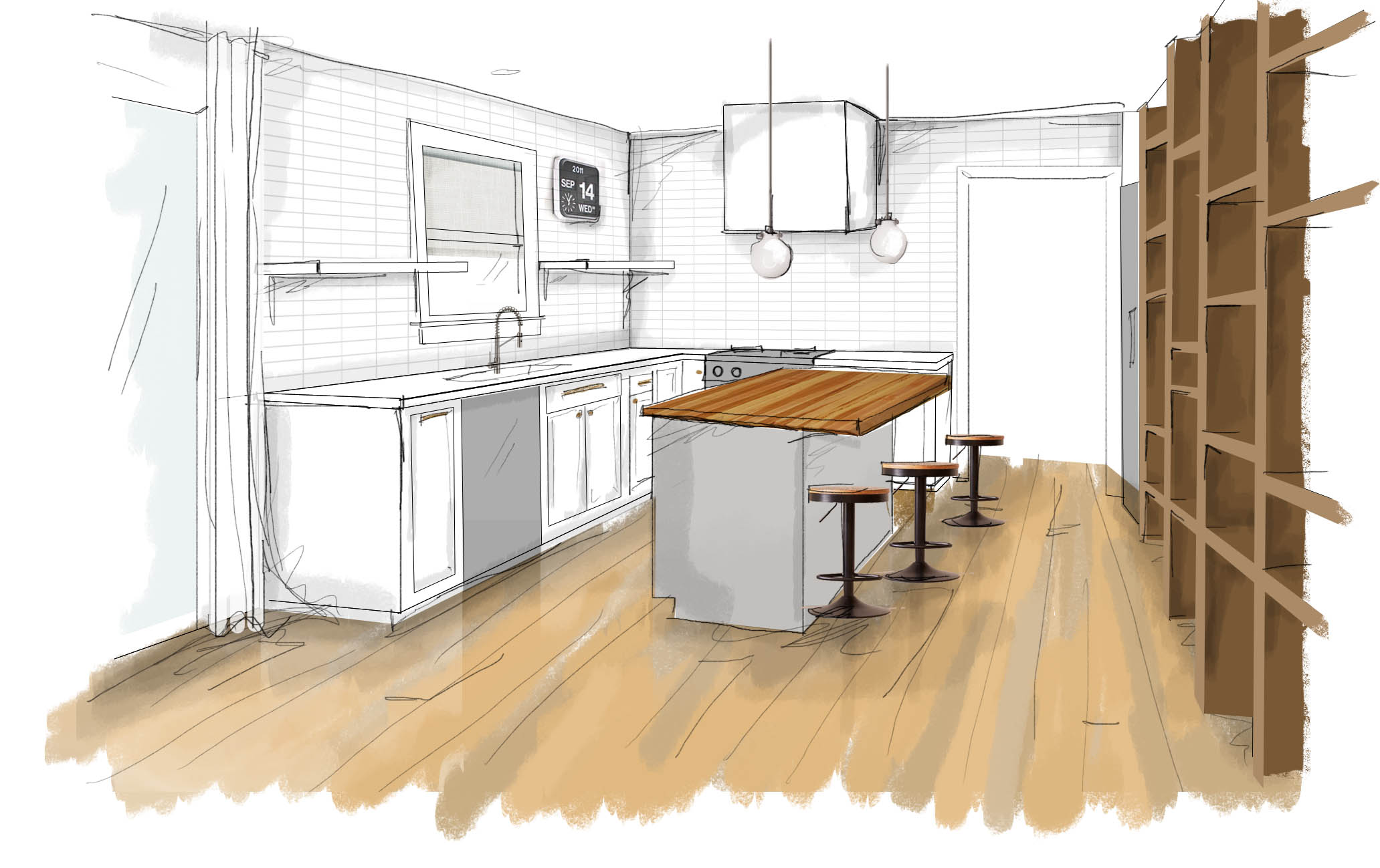 Kitchen Perspective Rendering