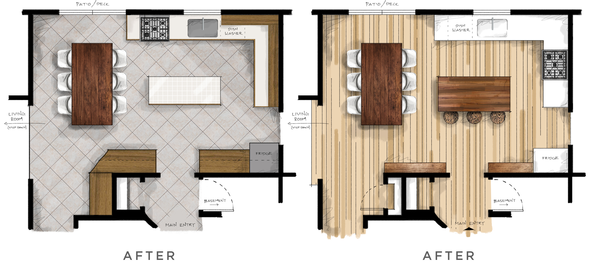 kitchen floor plan before/after