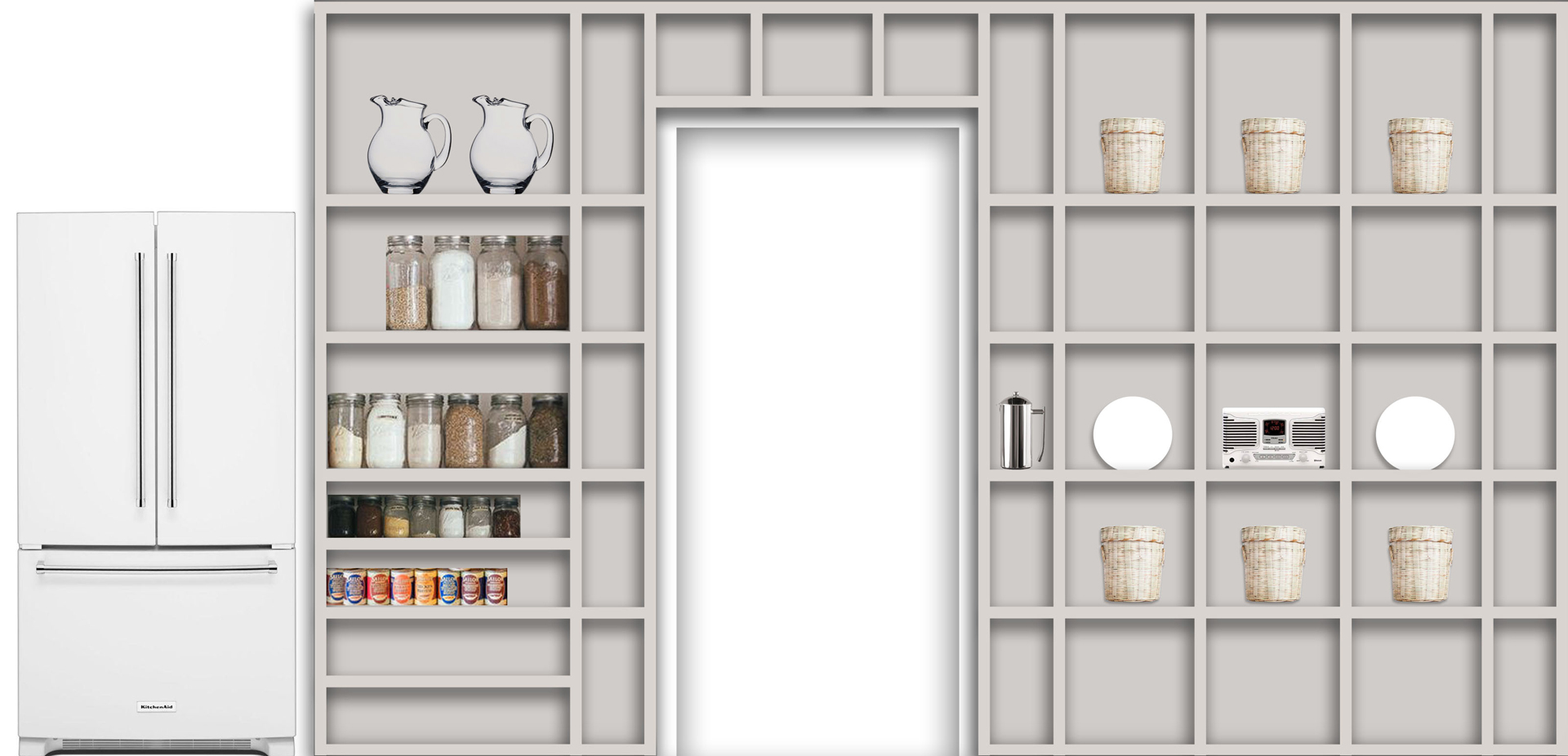 kitchen shelving wall