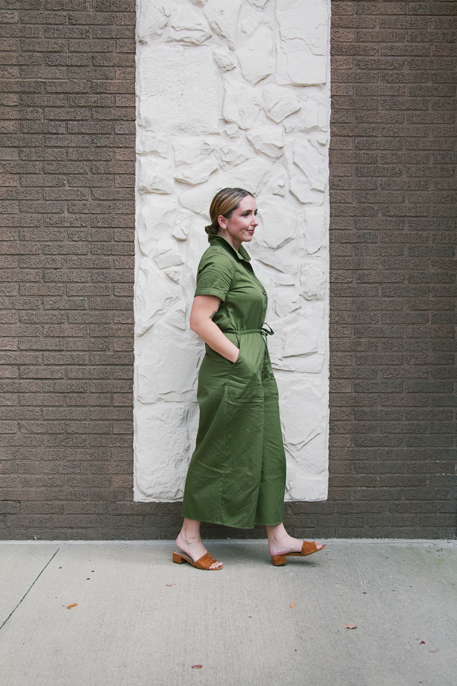 Madewell green jumpsuit