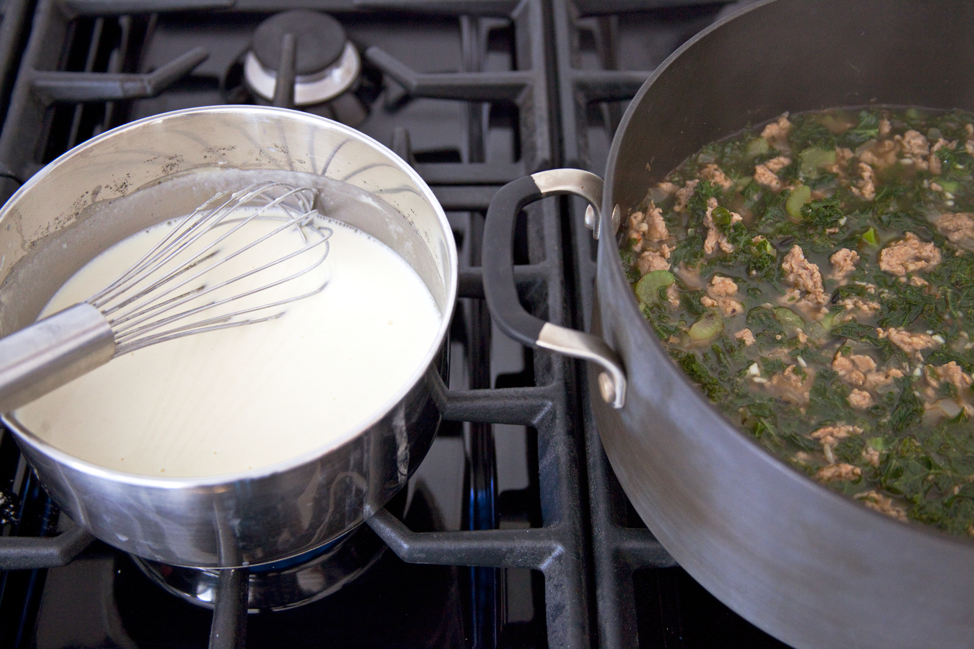 creamy sausage, kale, and wild rice soup